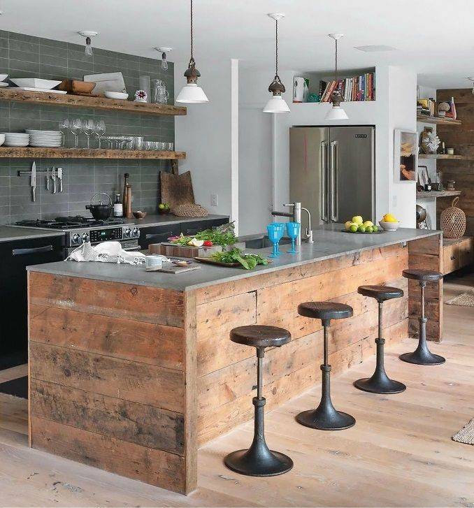 You Can Definiltey DIY An Island And Shelves For An Industrial Kitchen