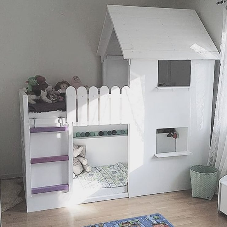 you can turn the loft bed into a beautiful all white castle