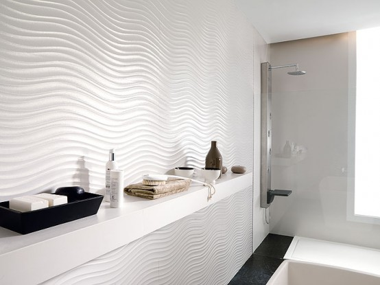 Zen-Like Pearl Bathroom Wall Tiles - Qatar by Porcelanosa - DigsDigs